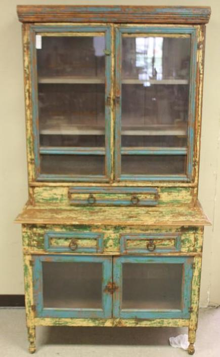 Handpainted stepback hutch