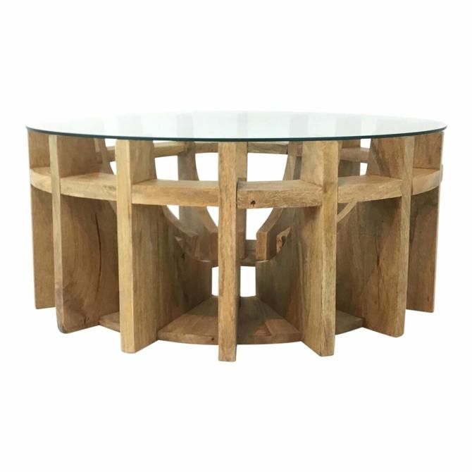 Organic Modern Blonde Wood and Glass Cocktail Table