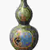 Chinese Gourd Shape Purple Rich Multi-Color Print Graphic Porcelain Vase cs2784E by GoldenLotusAntiques