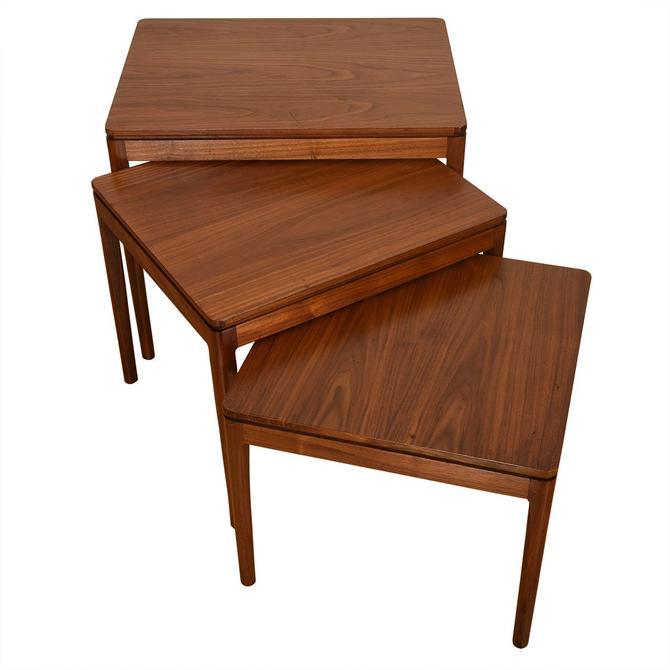 Set of 3 Mid Century Modern Walnut Nesting Tables