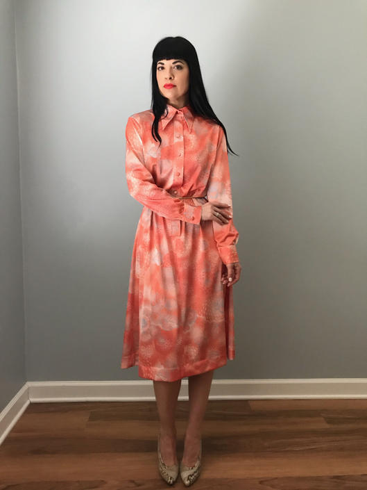 94a7684bc139 70s LANVIN floral print shirt dress | butterfly collared coral long ...