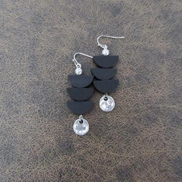Black wooden earrings, silver Afrocentric earrings, mid century modern earrings, African earrings, bold statement, unique pagoda earrings by Afrocasian