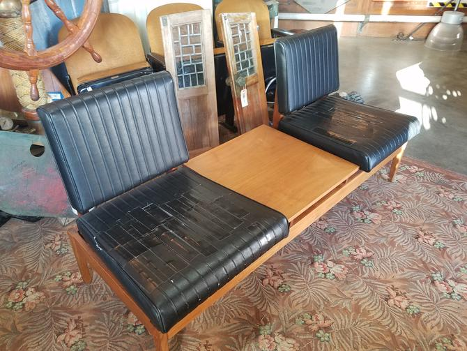 Mid-Century Two-Seater with Center Table 67 x 24.5