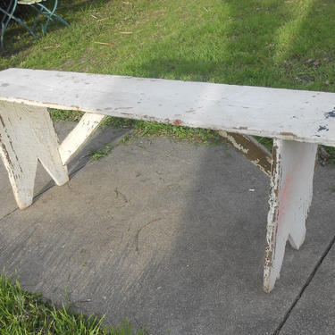 Antique Wood Long Porch Bench Handmade Chippy Paint White Farmhouse Country Cottage Decor Dining Seating Entryway Hallway Shabby Rustic by kissmyattvintage
