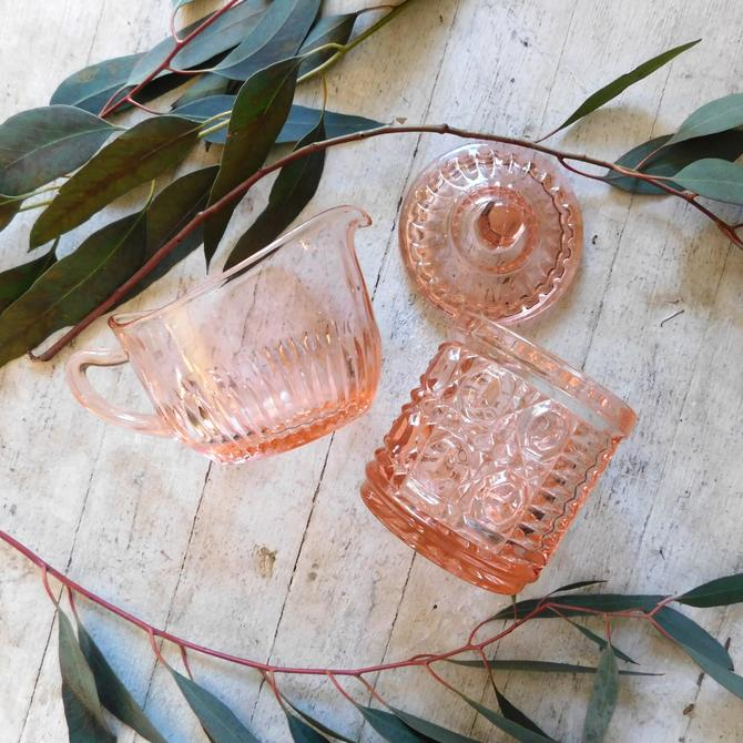 Pink Depression Cut Glass Creamer & Sugar Set