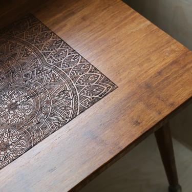 CUSTOM ORDER for PRIYANKA - Engraved Walnut Coffee Table 40 inch length and 17in Height by portrhombus