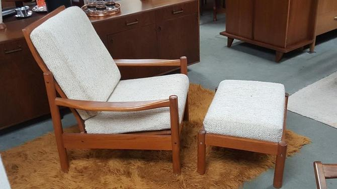 danish modern solid teak lounge chair and ottoman by tarm stole from