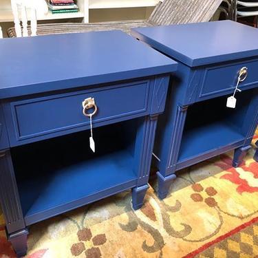 Pair of regency inspired blue painted nightstands 27 high 22 wide 15 deep