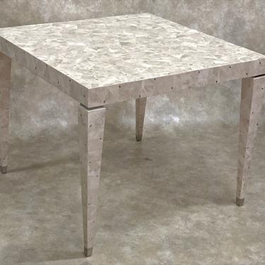 Tessellated fossil stone game table with silver triangles (#1610)
