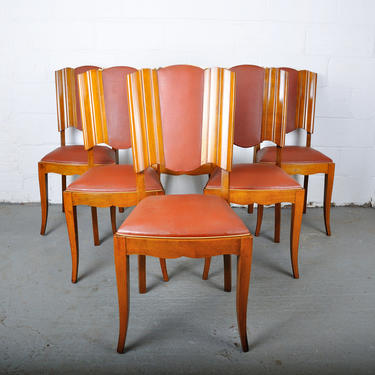 Vintage Set of 6 French Art Deco Maple Dining Chairs W/ Leather Upholstery by Barn51Store