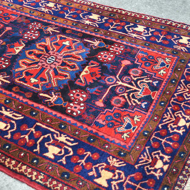 """Vintage Hand Knotted Persian Tribal Style Area Rug with Center Medallion -  4' 5"""" x  6' 4"""" by SourcedModern"""