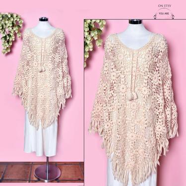vtg 70's Ivory Crochet Poncho, Boho Wrap, Shawl, Jacket, Coat, 1960's Beige Hippie Knit, 1970's Vintage Fringe Sweater Kaftan Dress by Boutique369