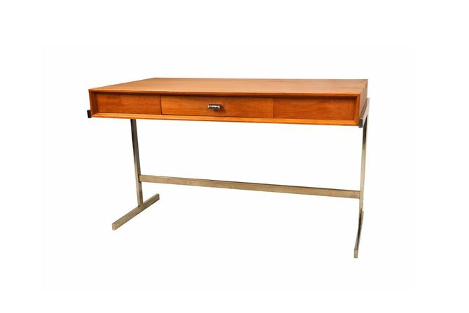Mid Century Scandinavian Modern Teak Royal Board Trestle Base Desk by Marykaysfurniture