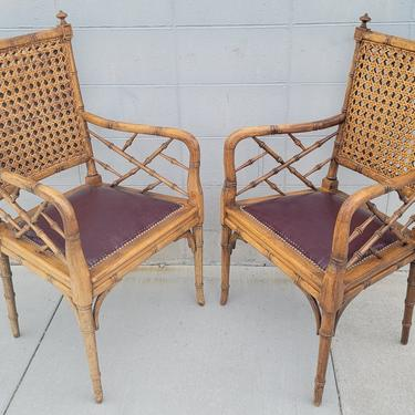 COMING SOON - Vintage Cane and Faux Bamboo Wood Chippendale Chairs - a Pair