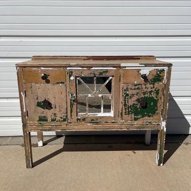 Antique Buffet Cabinet Console Farmhouse Shabby Chic Mirror Tea Bar Cart Server Storage Chippy Paint Rustic Regency Vintage Media Table by DejaVuDecors