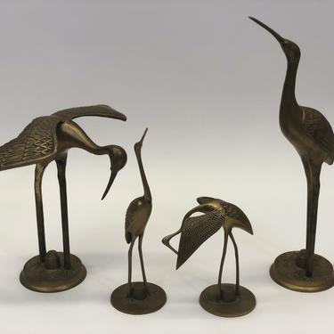 Brass Crane Vintage Figurines | Mid-Century Modern | 60s-70s | Set of 4