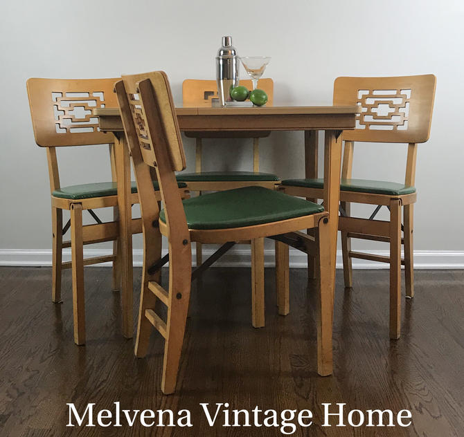 Mcm Stakmore Folding Table 4 Chairs By Melvenavintagehome