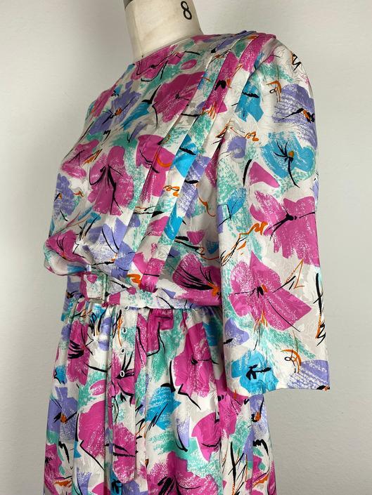 vintage 1980s multicolor fleur blouson dress size large/xl by miragevintageseattle