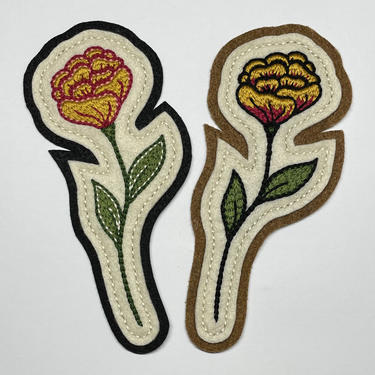 Handmade / hand embroidered off white and black / tan felt patch - yellow & dark fuschia marigold - vintage style - traditional tattoo flash by FastDoll