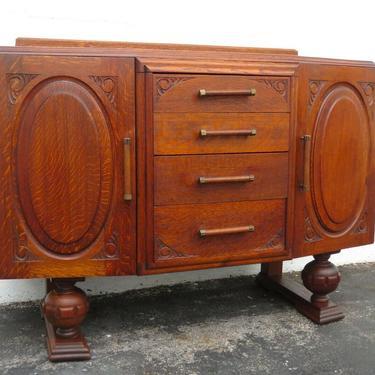 1920s English Deco Tiger Oak Server Sideboard Buffet Bathroom Vanity 2158