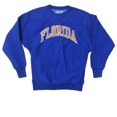 80s Florida Gators Embroidered Sweatshirt / UF Crewneck Pullover Orange and Blue // College Football / Steve and Barry's Size Small / Medium by RadThingsVintage