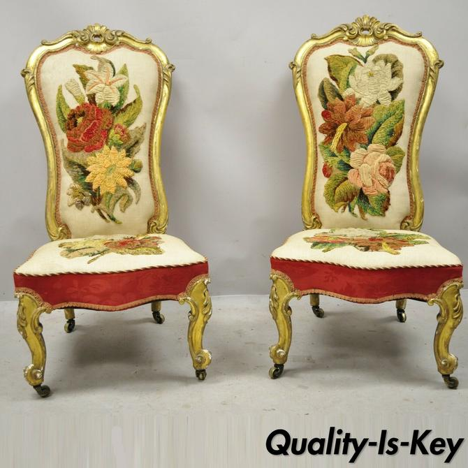 Antique French Victorian Gold Gilt Rococo Revival Slipper Parlor Chairs - a Pair