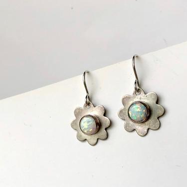Silver Flower Dangle Earrings with Opals by RachelPfefferDesigns
