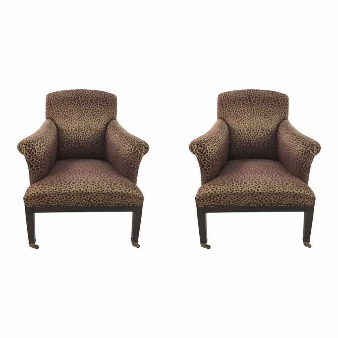 Modern Leopard Print Lounge Chairs Pair