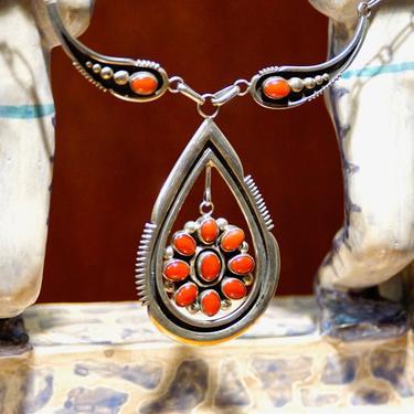 Vintage Signed DV Hattie Zuni Sterling Silver Coral Pendant Necklace, Open Frame Teardrop Pendant, Antelope Motif, Native American Necklace by shopGoodsVintage
