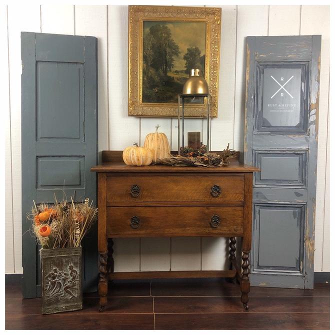 Antique English Oak Barley Twist small Buffet/Server by RustandRefind