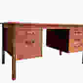 Mid Century Modern TEAK DANISH Two Sided DESK with Bookcase, 1960's by CIRCA60