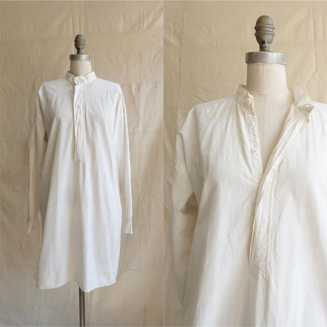 Vintage 10s 20s Cotton Night Shirt/ 1910s 1920s White Band Collar Tunic Shirt/ Edwardian Embroidered Long Top/ Size XL Large by bottleofbread
