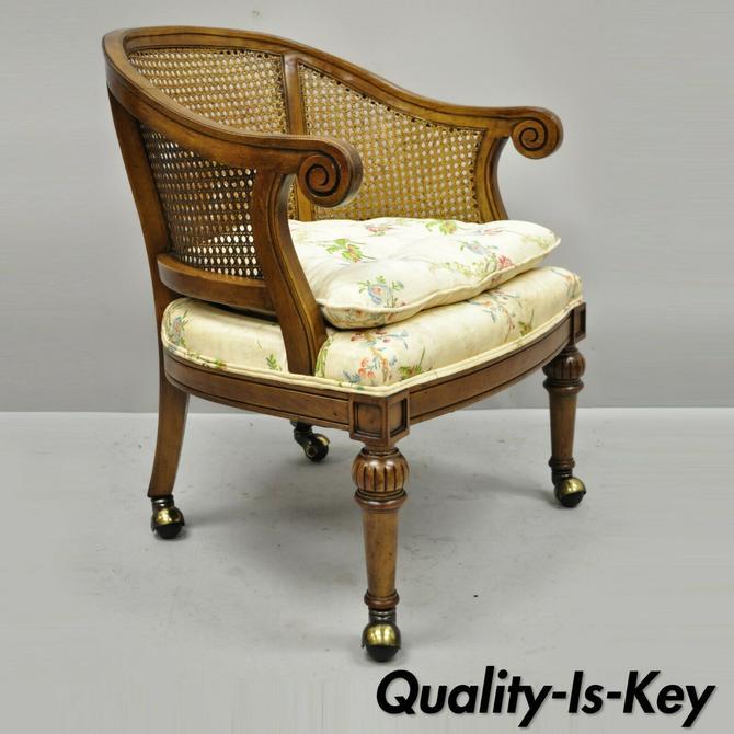 Vintage Kindel French Regency Style Cane Barrel Back Club Lounge Chair on Wheels