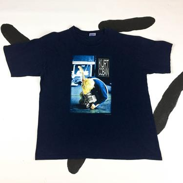 90s Kurt Cobain Navy Blue T Shirt / Nirvana / Rock Tee / Grunge / Size XL / Guitar / y2k / Vintage T shirt / Pop Culture / Courtney Love / by badatpettingcats