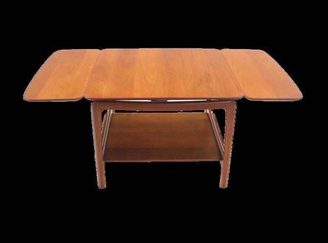 Solid Teak Scandinavian Modern Drop-Leaf Side Table Designed by Peter Hvidt
