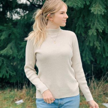 Neutral Knit Ribbed Turtleneck Sweater by MadroneClothing