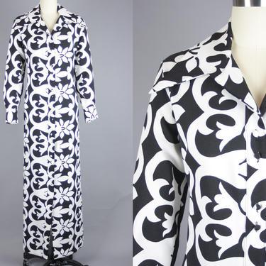 1970s LANVIN Maxi Dress   Vintage 70s Black & White Floral Print Dress   medium by RelicVintageSF