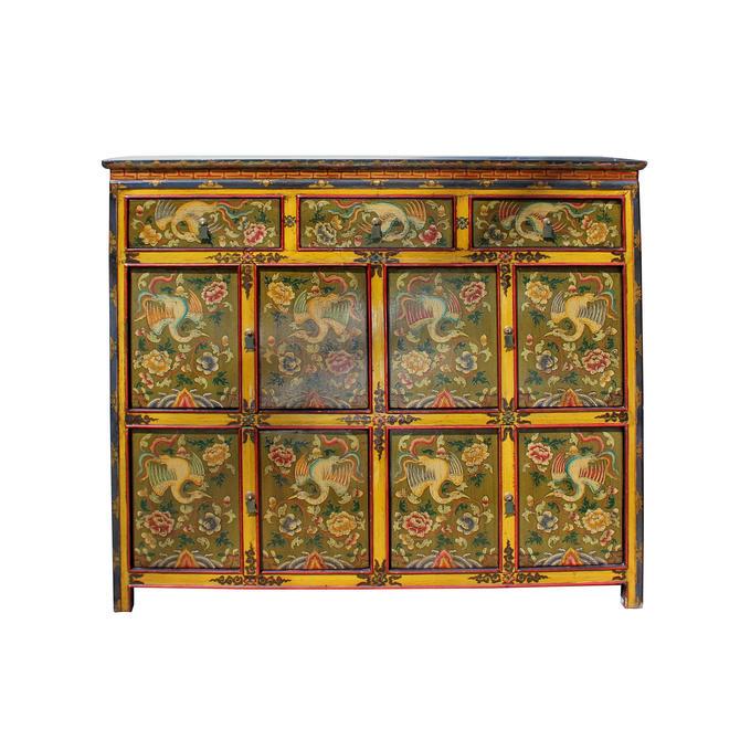 Chinese Tibetan Phoenix Flower Graphic Tall Credenza Storage Cabinet cs5761E by GoldenLotusAntiques