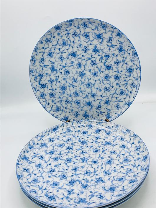 Vintage (4) Estee Lauder Chinoiserie Chintzware Dinner Plates White/Blue Floral SET4 Replacement China- Unused Condition by JoAnntiques