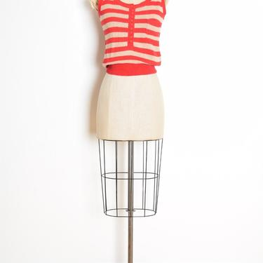 vintage 80s tank top red beige striped sweater crop top shirt blouse S clothing by huncamuncavintage