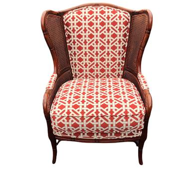Beautiful faux bamboo cane side wing chair by HolbrookBazaar