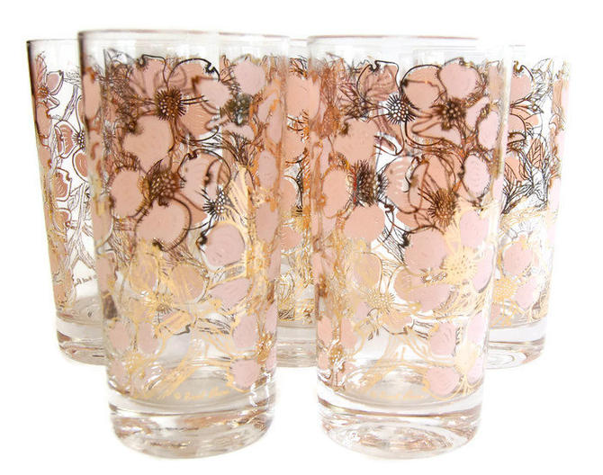 Fred Press Pink Dogwood Glasses Amp Caddy Set Of 8 Vintage