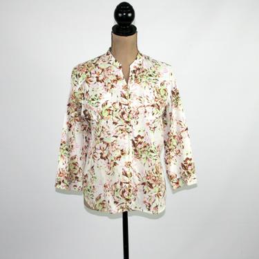 90s Floral Print Cotton Blouse Large, 3/4 Sleeve Tunic Top, Casual Button Up Shirt, 1990s Clothes for Women, Vintage from JH Collectibles by MagpieandOtis