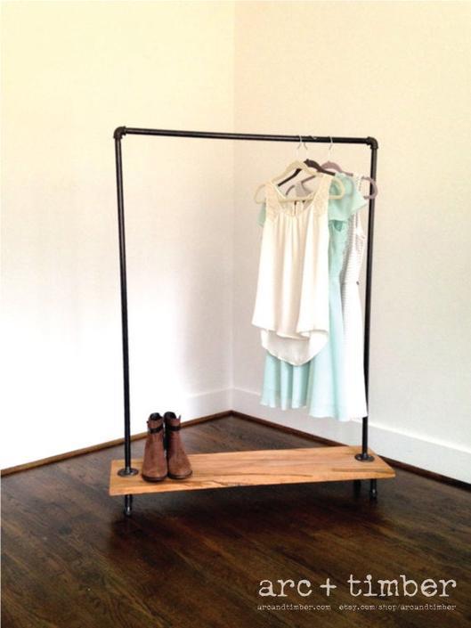 Logan Square Garment Rack - Reclaimed Wood & Pipe - Reclaimed Wood Garment Rack - Pipe Garment Rack by arcandtimber