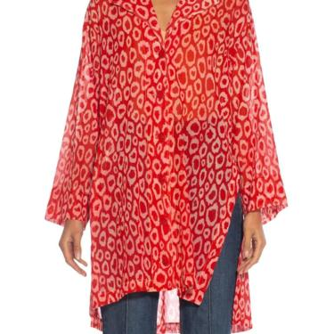 1980S Patrick Kelly Red Leopard Print Cotton Oversized Blouse by SHOPMORPHEW