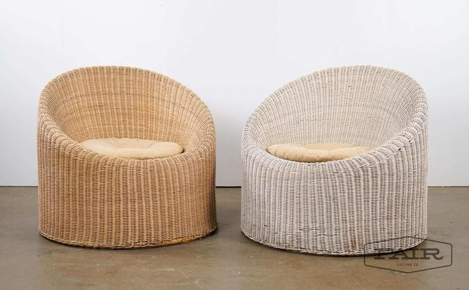 Pair of wicker pod chairs attrib. Isamu Kenmochi