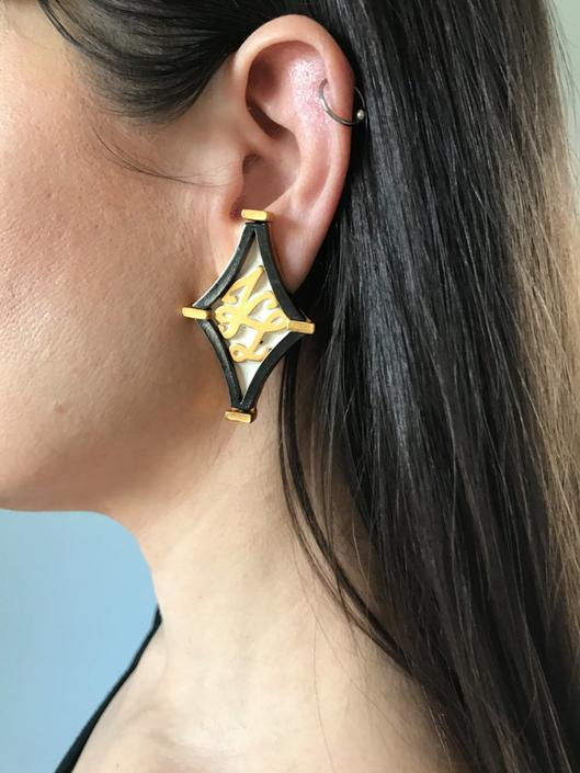 Signed Iconic KARL LAGERFELD logo earrings | gold enamel earrings by LosGitanosVintage