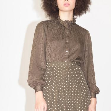 1970s YSL Olive Silk Paisley Jacquard Blouse by waywardcollection