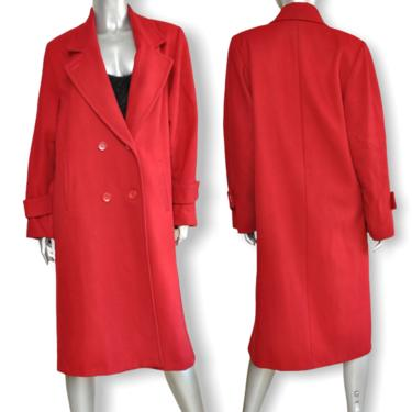 100% Wool Cranberry Red Double Breasted Coat Mid Calf Vintage Womens Coat M/L by TheUnapologeticSoul