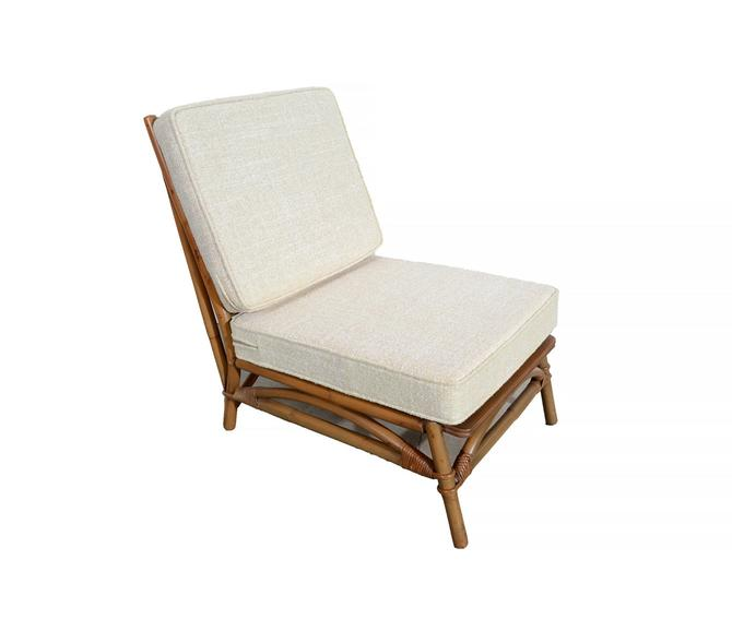 Ficks Reed Slipper Chair Bamboo and Rattan designed by John Wisner  Mid Century by HearthsideHome